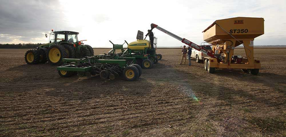 Planting with a large span air seeder is a fast, effective, and efficient cover crop planting method.